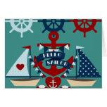 Nautical Hello Sailor Anchor Sail Boat Design Greeting Cards