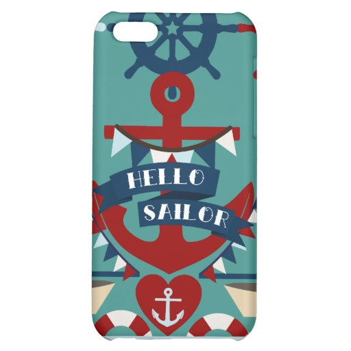 Nautical Hello Sailor Anchor Sail Boat Design Case For iPhone 5C
