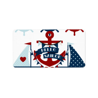 Nautical Hello Sailor Anchor Sail Boat Design Label