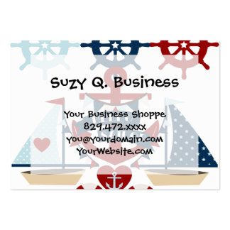 Nautical Hello Sailor Anchor Sail Boat Design Large Business Card