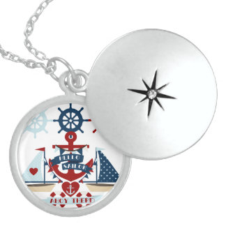 Nautical Hello Sailor Anchor Sail Boat Design Locket Necklace