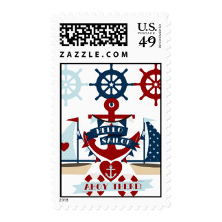 Nautical Hello Sailor Anchor Sail Boat Design Postage Stamp
