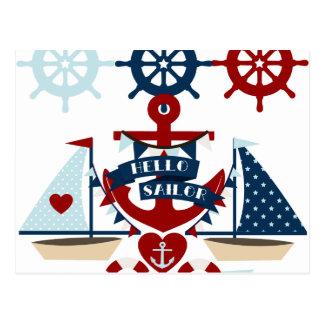 Nautical Hello Sailor Anchor Sail Boat Design Postcard