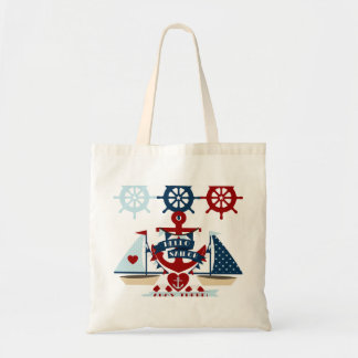 Nautical Hello Sailor Anchor Sail Boat Design Tote Bag