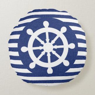 Nautical Helm on Burlap Dark Blue Stripes Round Pillow