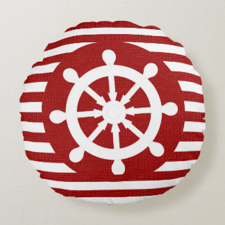 Nautical Helm on Burlap White & Dark Red Stripes Round Pillow