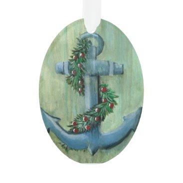 Christmas Themed Nautical Holiday Anchor Ornament