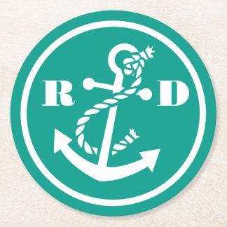 Nautical Initials Round Paper Coaster