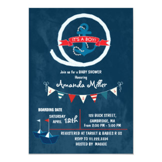 Nautical It's a Boy Baby Shower Card