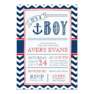 Nautical It's a Boy Baby Shower w/ Anchor Chevron Card