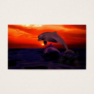 Nautical Jumping Dolphins Orange Ocean Sunset Business Card