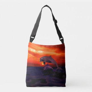 Nautical Jumping Dolphins Orange Ocean Sunset Crossbody Bag
