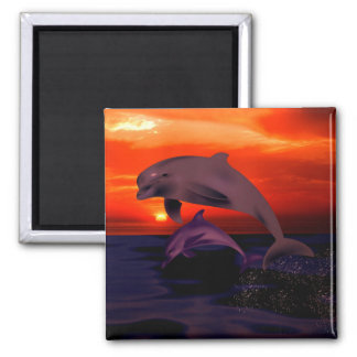 Nautical Jumping Dolphins Orange Ocean Sunset Magnet