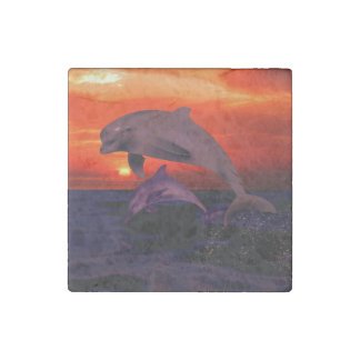 Nautical Jumping Dolphins Orange Ocean Sunset Stone Magnet