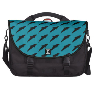 Nautical Jumping Dolphins Playing Pattern Laptop Bags
