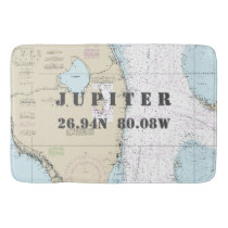 Nautical Jupiter FL Longitude Latitude Chart Bathroom Mat
