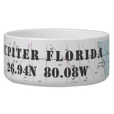 Beach Themed Nautical Jupiter Florida Latitude Longitude Bowl