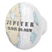 Nautical Jupiter, Florida Latitude Longitude Chart Ceramic Knob
