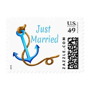 Beach Themed Nautical Just Married Blue Turquoise Ship Anchor Postage