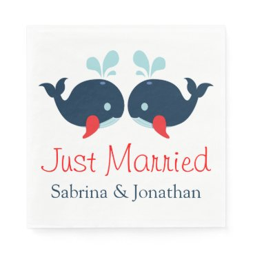 Beach Themed Nautical Just Married Navy Red Whales Wedding Napkin