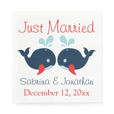 Beach Themed Nautical Just Married Navy Red Whales Wedding Paper Napkin