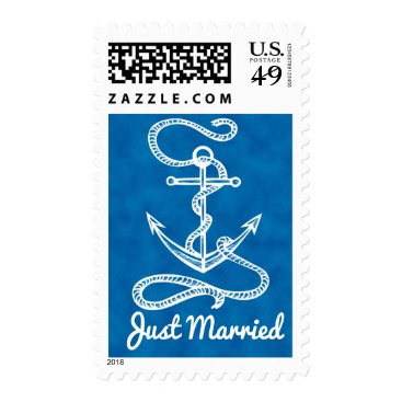 Beach Themed Nautical Just Married Ship Anchor Blue Wedding Postage
