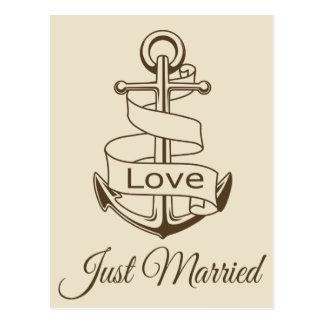 Nautical Just Married Ship Anchor Brown Wedding Postcard