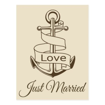 Beach Themed Nautical Just Married Ship Anchor Brown Wedding Postcard