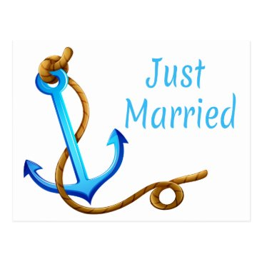 Beach Themed Nautical Just Married Turquoise Anchor Wedding Postcard