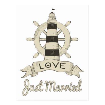Beach Themed Nautical Just Married Wedding Lighthouse & Ship Postcard