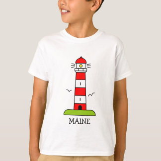 Nautical kids clothing   Maine lighthouse cartoon T-Shirt