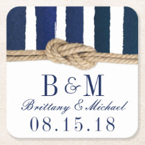 Nautical Knot Burlap Navy Stripes Wedding Coasters