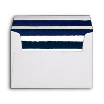 Nautical Knot Burlap Navy Stripes Wedding Envelope