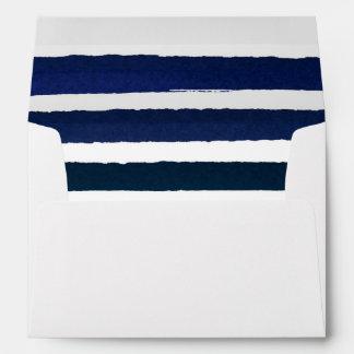 Nautical Knot Burlap Navy Stripes Wedding Envelope