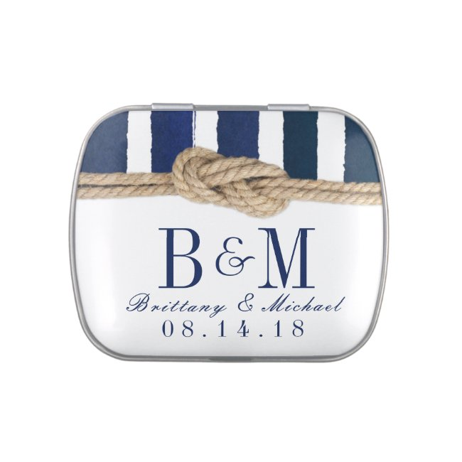 Nautical Knot Burlap Navy Stripes Wedding Favor Candy Tin