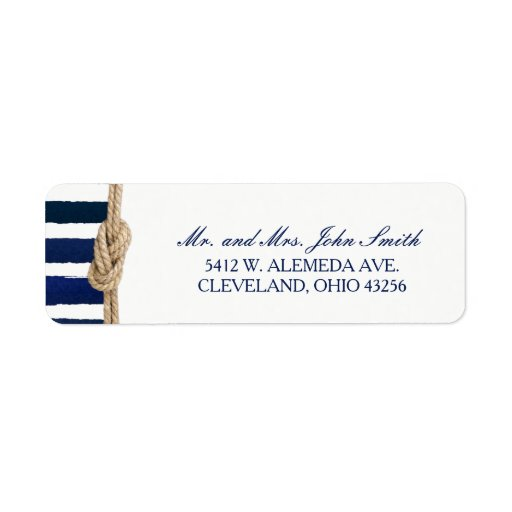 Nautical Knot Burlap Navy Stripes Wedding Label