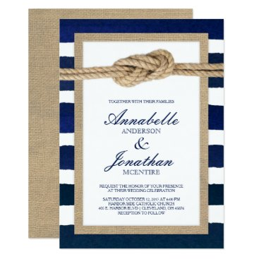 Beach Themed Nautical Knot Burlap & Watercolor Navy Stripes Card