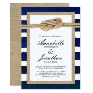 Nautical Knot Burlap & Watercolor Navy Stripes Invitation