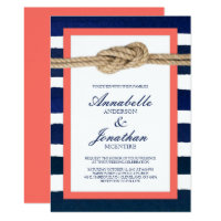 Nautical Knot Coral & Navy Stripes Wedding Invitation