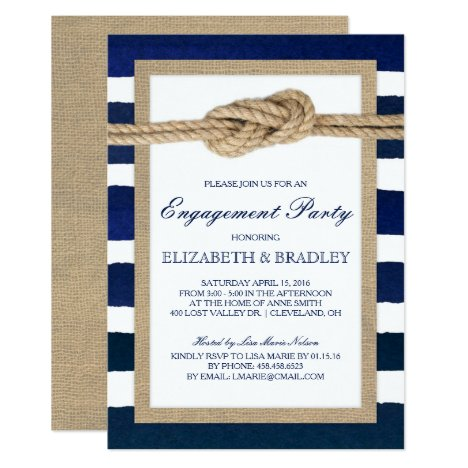 Nautical Knot Navy Stripes Bridal Engagement Party Invitation