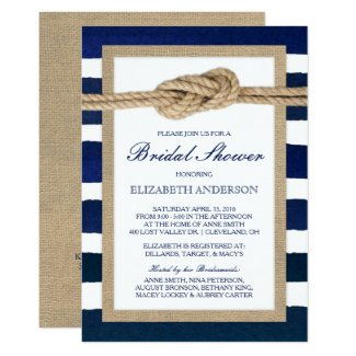 Nautical Knot Navy Stripes Rustic Bridal Shower Invitation