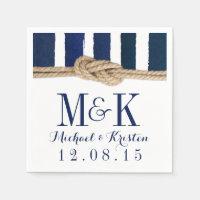 Nautical Knot Navy Stripes Wedding Napkins