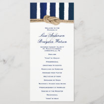 Nautical Knot Navy Stripes Wedding Program