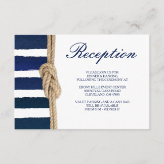 Nautical Knot & Watercolor Navy Stripes Reception Enclosure Card