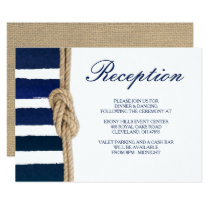 Nautical Knot & Watercolor Navy Stripes Reception Invitation
