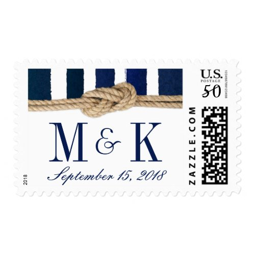 Nautical Knot Watercolor Navy Stripes Wedding Postage
