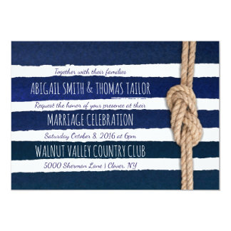 Nautical Knot Watercolor Stripes Wedding Card