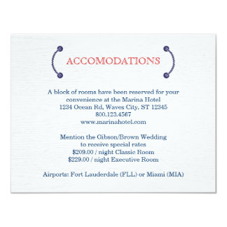 Nautical Knot Wedding Accommodations Card