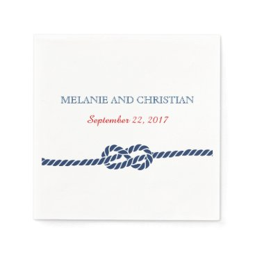 Beach Themed Nautical Knot Wedding Cocktail Napkin