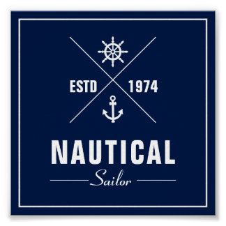 Nautical Label Poster with Anchor and Ships Wheel